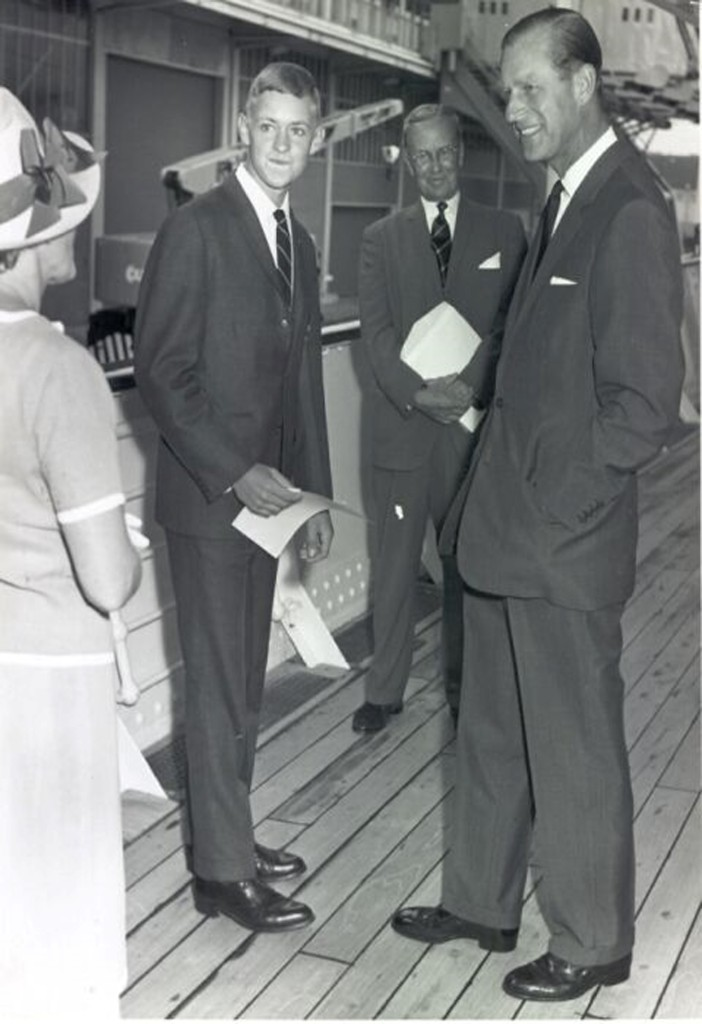 The photo is of HRH Prince Philip The Duke of Edinburgh with Sir Adrian  Curlewis on board the HMY Britannia in 1962 where the first Gold Award was  presented ... fd01f0546