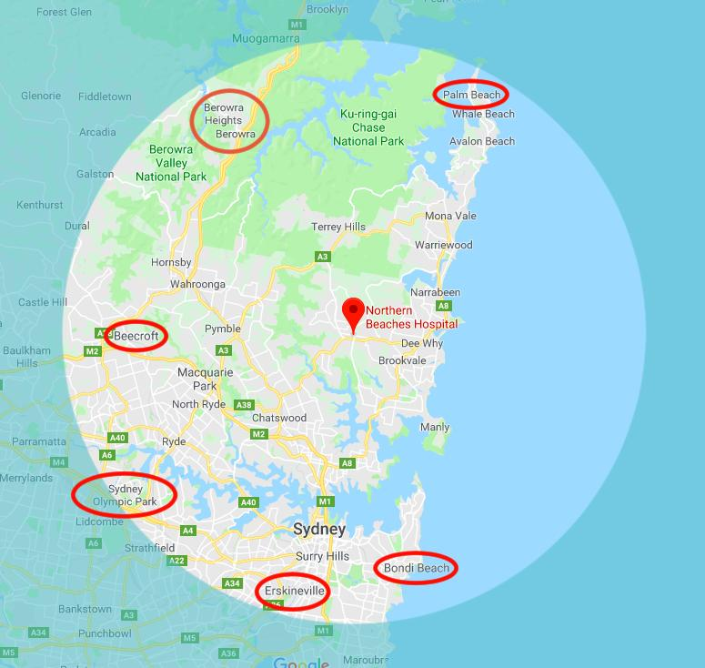 northern beaches hospital map by zoe wild